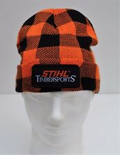 STIHL Lumberjack Timbersports Knit Cuffed Beanie Hat Cap Orange and Black Plaid