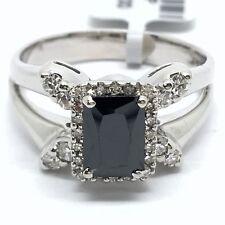 14k white gold diamond and emerald cut onyx ring