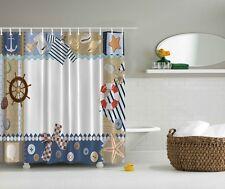 Nautical Life Ring Beach Shower Curtain Boat Anchor Starfish Buttons Bath Decor