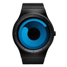 New Men Creative Wrist Watch Stainless Steel Quartz Mesh Band Unique Vortex Dial