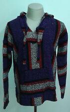 Vintage Mexican Black Red & Purple Baja Hoodie unisex sweater measures M / L