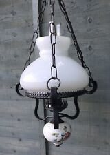 Vintage Electric Kramer Leuchten German Oil Lamp Style Ceiling Light