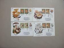 Four DELUXE Mushroom registered postal stationery w/additional Mushroom stamps