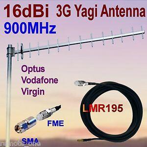 16dBi 900MHz 3G GSM Yagi Antenna OPTUS VIRGIN VODAFONE FME+SMA 10m Low Loss Coax