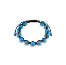 Natural Stone Blue Turquoise 10MM Bead Black Cord Adjustable Healing Bracelet