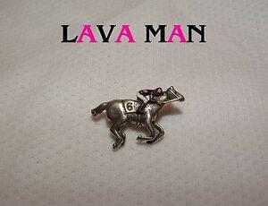 LAVA MAN HAND PAINTED HORSE RACING JOCKEY SILKS PIN