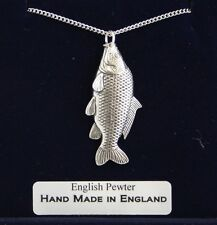 Common Carp Fish Necklace in Fine English Pewter, Handmade, Gift Boxed. Fishing