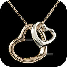 18k white rose gold gp double hearts high quality pendant necklace