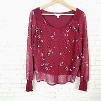 Lauren Conrad Womens Top Size XS Burgundy Floral Swiss Dot Fashion Blouse