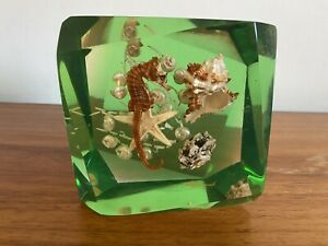 1960/70's Retro Sea Animal & Shells Lucite Paperweight - Resin Kitsch Man Cave