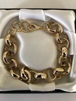 "9ct Heavy Gold gf Belcher Bracelet Chain 16mm x 9"" Inch FREE Luxury Gift Box"
