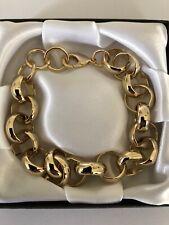 "9ct Heavy Gold gf Belcher Bracelet Chain 16mm x 9"" Inch FREE Luxury Gift Box"