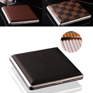 Men Metal PU Leather Cigarette Case Tobacco Holder Storage Container Pocket Box