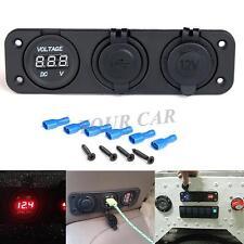12V Dual Car Cigarette Lighter Socket USB Adapter Charger + Digital Voltmeter US