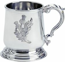 Pewter Tankard Scottish George 3rd Shape Thistle Badge 1pt Engravable Polished