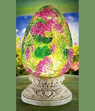 Solar Lighted Floral Mosaic Glass Egg on Base Easter Spring Summer Outdoor Decor