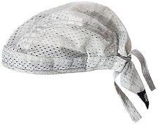 Solid Silver Gray Vented Sweatband Doo Du Rag Headwrap Biker Cap Bandanna Mesh