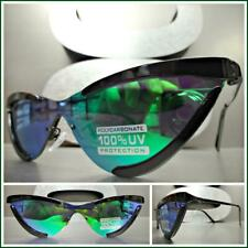 Classy Exotic Retro Cat Eye Style Sun Glasses Black Frame Rare Green Mirror Lens