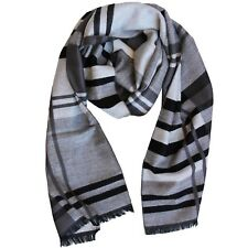 Scarf Black Mens 100 Wool Grey Lines Cashmere Soft Long Winter XL