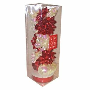 Christmas 13 Piece Gift Pack of Bows Ribbons - Red & White