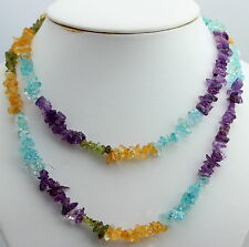 Multicolor Collar de Piedras Preciosas Interminable ca.90 Cm Cadena