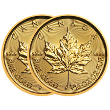 Lot of 2 - 2019 $5 Gold Canadian Maple Leaf .9999 1/10 oz Brilliant Uncirculated