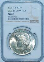 1923 NGC MS62 VAM-1B Top 50 Extra Hair Peace Silver Dollar
