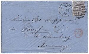UK GB 1865 POSTAL HISTORY SG 97 SIX PENCE TIED LONDON DUPLEX CANCEL PD IN RED TO