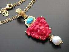 TAGLIAMONTE Necklace YGP/SS CORAL Medusa VENETIAN CAMEO+TURQUOISE+PEARL