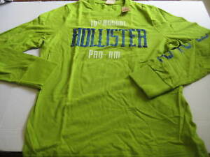 NEW MENS SIZE XL HOLLISTER GREEN CREW NECK GRAPHIC LONG SLEEVE HEAVY WEIGHT FABR