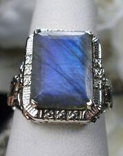 6.ct Emerald Cut Natural Labradorite Sterling Silver Floral Filigree Ring size 9
