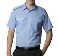 Kustom Kit KK133 Mens Short sleeve pilot shirt office casual work Light blue NEW