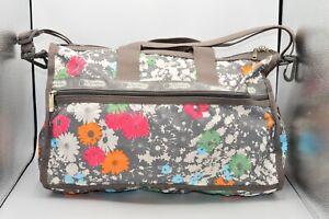 LeSportsac Classic Small Weekender Duffle Bag Rare Floral Gray Travel AS IS