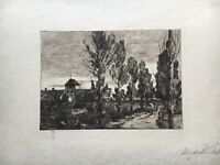 MARGARETE STALL (1871-?) LANDSCHAFT BEI MÜNCHEN SCHWABING ? RADIERUNG 16 X 22,5