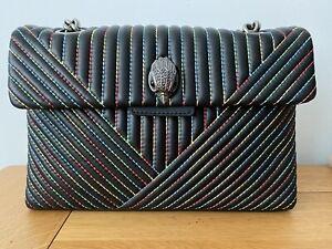 BNWT Kurt Geiger Kensington Black Rainbow Stitch Handbag Bag Eagle Gunmetal