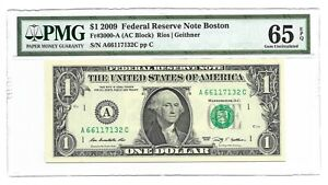 2009 $1 BOSTON FRN, PMG GEM UNCIRCULATED 65 EPQ BANKNOTE