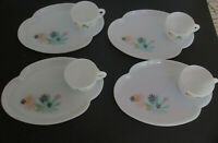 Vtg Federal Glass Patio Snack Set Service 4 Atomic Flower Midcentury Cup Plate