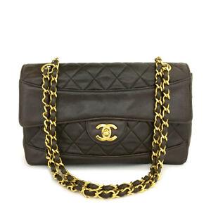 CHANEL Brown Quilted Matelasse CC Logo Lambskin Chain Shoulder Bag  /B0493