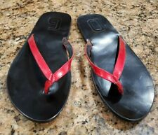 Dolce & Gabbana Italy Vintage Red Leather Flip Flop Mens Wooden Sandals Shoes 12