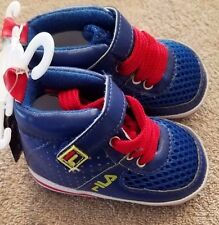 DARLING!! NEW!! FILA SIZE 1 0-6 MONTH RED & BLUE TENNIS SHOES REBORN