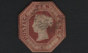1848 QV SG57 10d Brown H2(1) Embossed Cut to Shape Fine Used ref 3