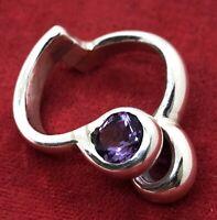 Modernist Estate Amethyst Band Unique Vintage Sterling Silver Ring 925 Size 7