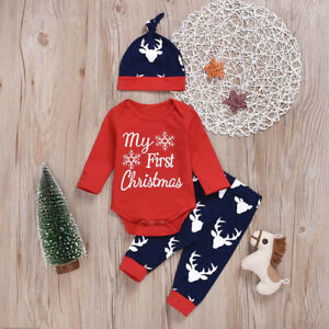 My 1st Christmas Baby Boy Girl Newborn Xmas Clothes Romper+Deer Pants Outfit UK