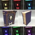 """Witch Skull Crossbones Curse Spell Book LED Lighted Halloween Prop Decor 8"""" NEW"""