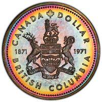 1971 CANADA SILVER DOLLAR PCGS SP66 BU UNC NEON RAINBOW COLOR GEM TONED (DR)