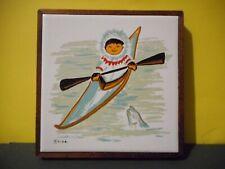 Vintage Mika Studio Canada Handpainted Tile– Inuit Art,Children Series,Kayak