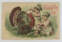 Postcard Thanksgiving Two Boy Chefs Preparing the Bird Turkey 1911