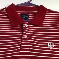 IU Indiana University Men Short Sleeve Polo Pullover Shirt XL Red White Stripes