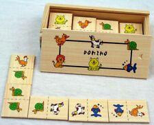 2x Holz Domino  Tierdomino, Kinderdomino 56 Teile mit Holzschachtel