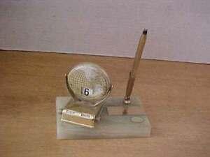 Vintage Onyx Base Desk Pen Holder w/ Globe Perpetual Flip Calendar Free Ship